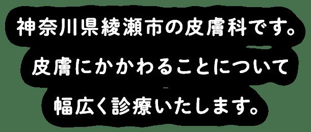 神奈川県綾瀬市の皮膚科です。皮膚にかかわることについて幅広く診療いたします。